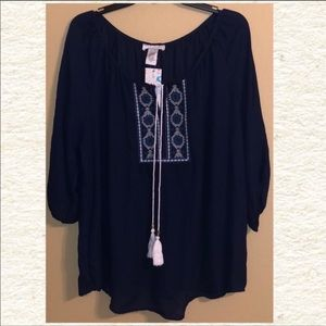 Navy Blouse w/ Embroidered Detailing